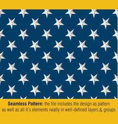 american flag embossed stars - seamless pattern vector image