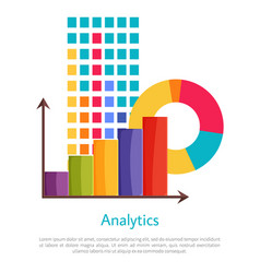 Analytics set multicolored graphics poster vector