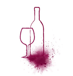 Art bottle and glass with wine splash vector