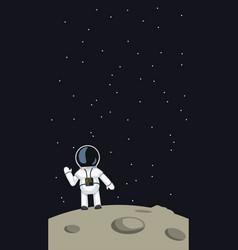 Astronaut waving on moon vector