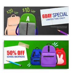 backpacks horizontal banners set vector image
