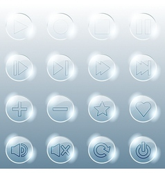 Basic set of transparent glass buttons vector image