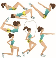 Beautiful girl making exercises vector