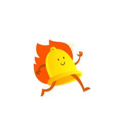 Bell alarm character mascot running on fire call vector