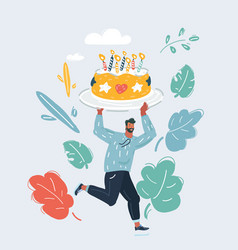 birthday party big cake cartoon vector image