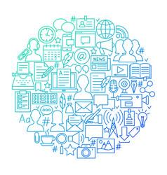 Blog line icon circle design vector