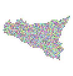 Bright dotted sicilia map vector