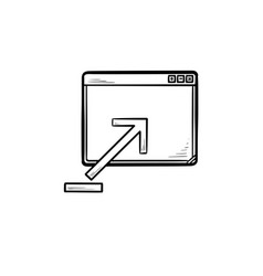 browser window with upload sign hand drawn outline vector image