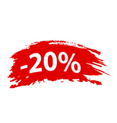 Brushstroke 20 off red set offer discount tag vector