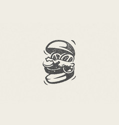 Burger silhouette as logo fast food service hand vector