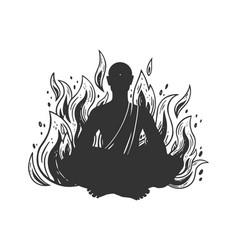 Burning meditating monk sketch vector