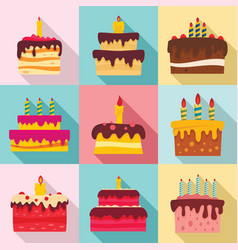 cake birthday icon set flat style vector image