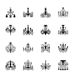 Candelabra lamp glyph icons vector