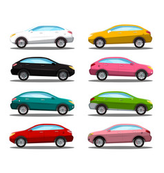 car icon colorful cars symbols set isolated on vector image