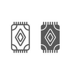 Carpet line and glyph icon home and fabric rug vector