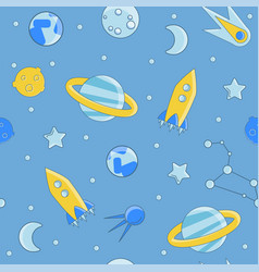 Cartoon flat kids space and cosmos science vector