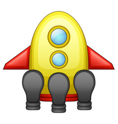 cartoon spaceship isolated on white background vector image