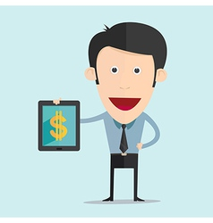 cartoon with tablet and money flat design vector image