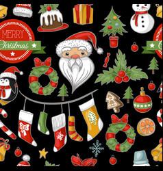 christmas holiday pattern with santa bells vector image