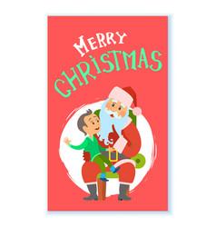 christmas winter holidays santa claus and kid vector image