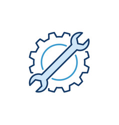 Cog wheel with spanner creative icon vector