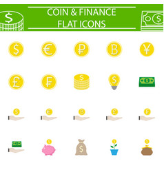 Coins flat pictograms package finance signs vector