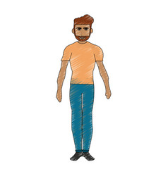 Color pencil cartoon full body man with beard vector