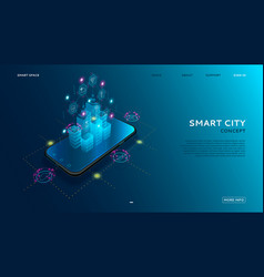 concept of smart city with iot vector image
