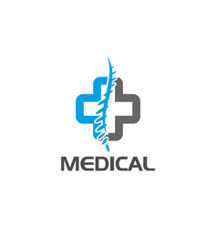cross logo medical spine diagnostic center vector image