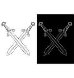 Crossed swords viking weapon hand drawn sketch vector