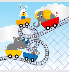 Cute animals cartoon playing roller coaster vector