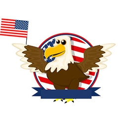Cute cartoon American bald eagle vector