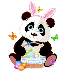 Cute Panda with Easter basket vector