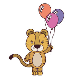 Cute tiger with helium balloons vector