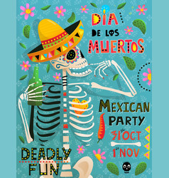 day dead skeleton poster design with hand vector image