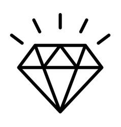 diamond gemstone with sparkle line icon vector image