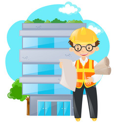 Engineer holding papers in front of building vector