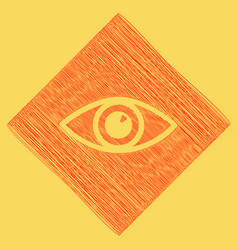 eye sign red scribble icon vector image