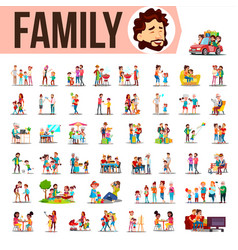 family set lifestyle situations spending vector image