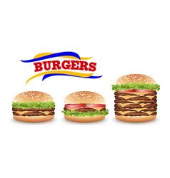 Fast food realistic burger set hamburger vector