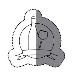 Figure emblem wine bottle and glass icon vector