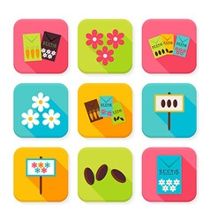 Flat Agriculture and Flowers Squared App Icons Set vector