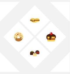 flat cake set of doughnut cake dessert and other vector image