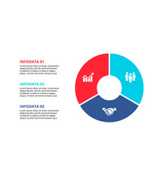 flat circle element for infographic with 3 parts vector image