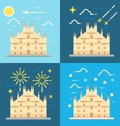 Flat design 4 styles of Duomo di Milano Italy vector image