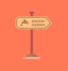 flat icon on background dolphinarium sign vector image
