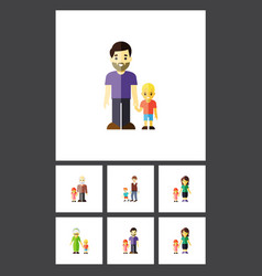 flat icon relatives set of grandma son mother vector image