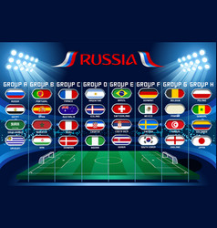 Football flags world cup set icons vector