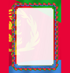 frame and border of ribbon with eritrea flag vector image