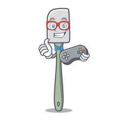 Gamer cooking tool silicone spatula mascot cartoon vector